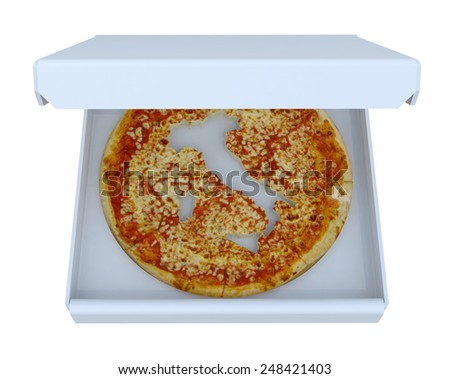 Italy country map cropped on pizza inside box, isolated on white, 3d illustration - stock photo