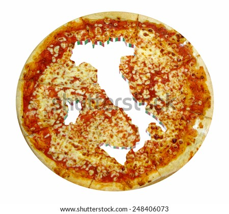 Italy country map cropped on pizza isolated on white, 3d illustration - stock photo