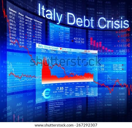 Italy Debt Crisis Economic Stock Market Banking Concept - stock photo