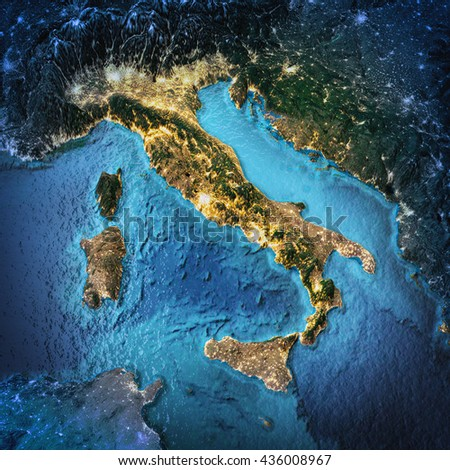 Italy. Elements of this image furnished by NASA. 3D rendering - stock photo