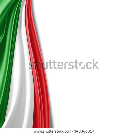 Italy flag of silk with copyspace for your text or images and white background - stock photo