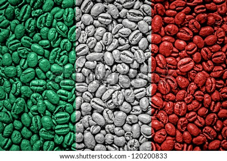 Italy flag on coffee seeds - stock photo