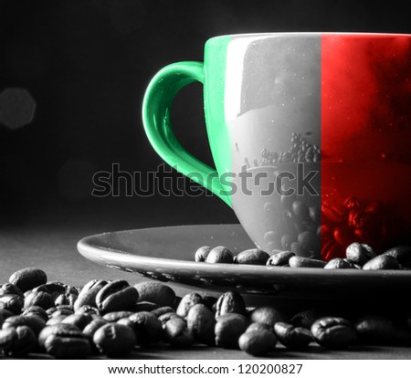 Italy flag on cup of coffee - stock photo