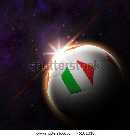 Italy flag on 3d football with rising sun illustration for Euro 2012 Group C - stock photo