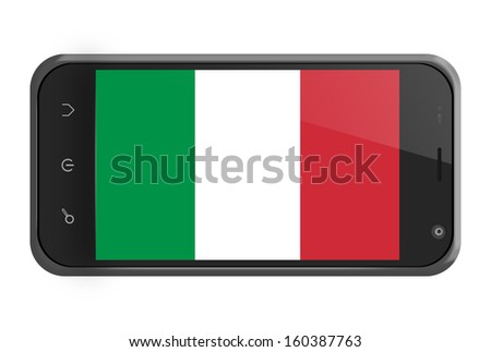 Italy flag on smartphone screen isolated on white - stock photo