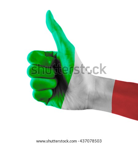 Italy flag painted hand showing thumbs up sign on isolated white background with clipping path - stock photo