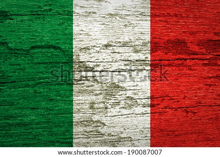 Italy flag painted on wood texture  - stock photo