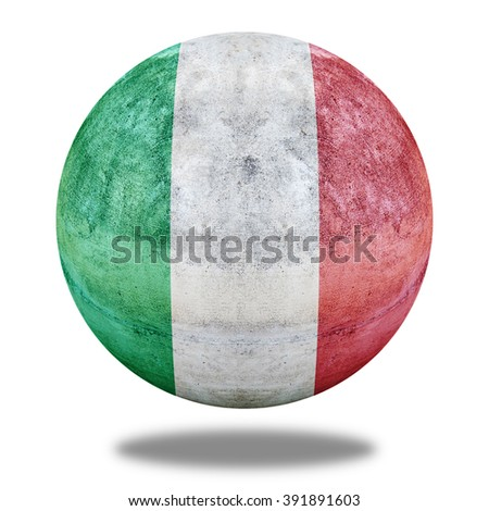 Italy flag pattern on stone circle shape texture - stock photo