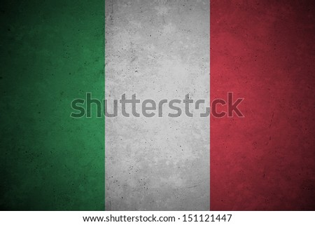 italy  flag pattern on the concrete wall. - stock photo