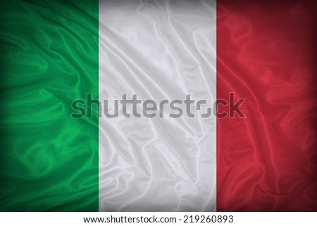 Italy flag pattern on the fabric texture ,vintage style - stock photo