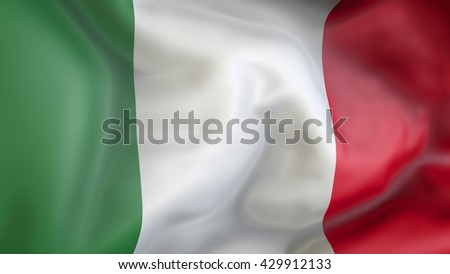 Italy flag waving in the wind 3d Illustration - stock photo