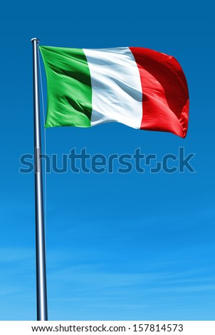 Italy flag waving on the wind - stock photo