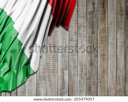 Italy Flag with vertical wood - stock photo