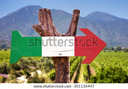 Italy Flag wooden sign with winery background - stock photo