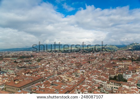 Italy. Florence. Panoramic view to the city and streets from above - stock photo