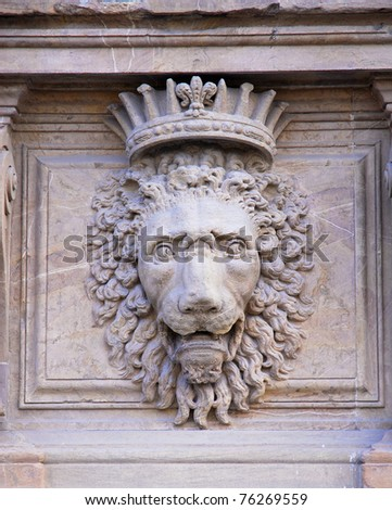 Italy, Florence Pitti Palace facade lion details. - stock photo