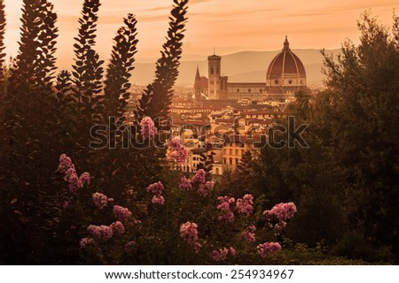 Italy: Florence's Cathedral at sunset - stock photo