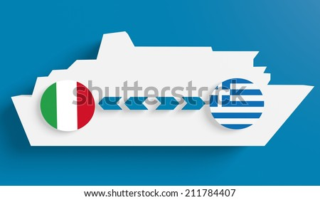 italy greece ferry boat route info in icons - stock photo