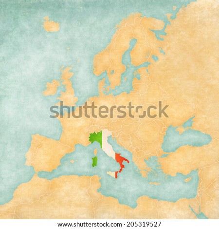 Italy (Italian flag) on the map of Europe. The Map is in vintage summer style and sunny mood. The map has a soft grunge and vintage atmosphere, which acts as watercolor painting on old paper.  - stock photo