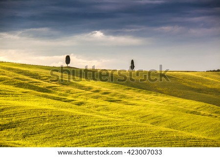 Italy Landscape, Scenic view of typical Tuscany country, Italy - stock photo
