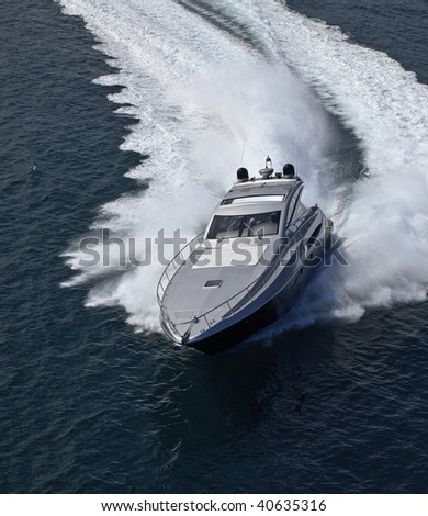 ITALY, Lazio, Tirrenian sea, off the coast of Fiumicino/Rome, aerial view of luxury yacht Alfamarine 60' - stock photo