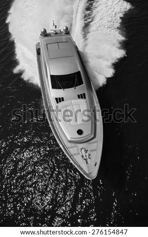 ITALY, Lazio, Tyrrhenian sea, aerial view of luxury yacht  - stock photo