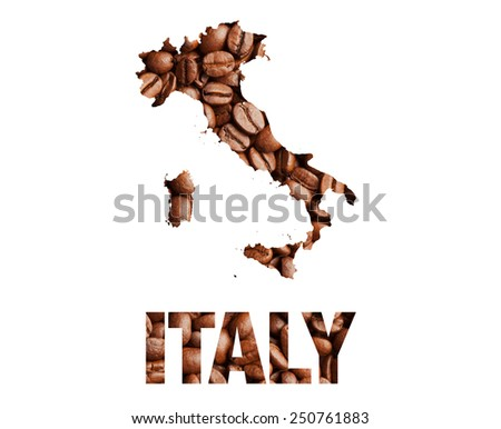Italy map and word coffee beans isolated on white - stock photo