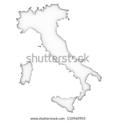 Italy map on a white background. Part of a series. - stock photo