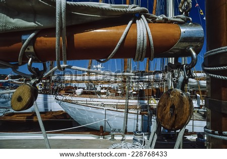 Italy, Mediterranean Sea, Sardinia, Emerald Coast, Porto Cervo, old sailing boats in the port - FILM SCAN - stock photo