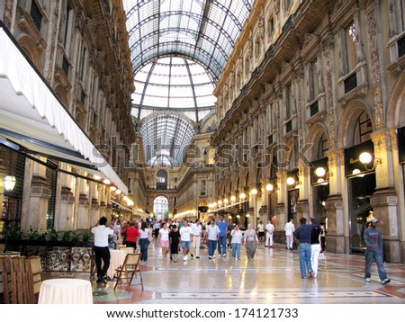 ITALY, MILAN - JUNE 06, 2008: Luxury lifestyle of Galleria Vittorio Emanuele II. Built in 1875, one of the most popular shopping areas in Milan, Italy. - stock photo