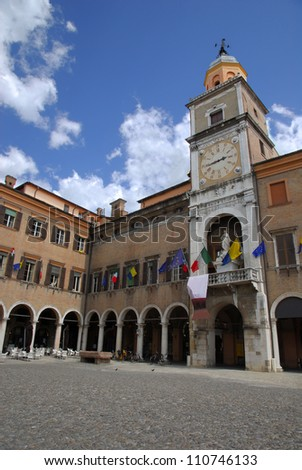 Italy, Modena Piazza Grande and the city hall - stock photo
