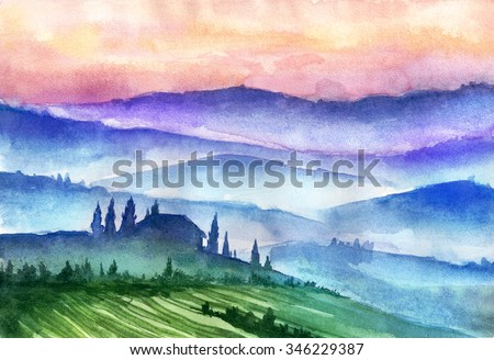 Italy mountains landscape. Watercolor illustration. - stock photo