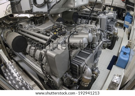 Italy, Naples, Atlantica luxury yacht (Cantieri di Baia boatyard), engines room - stock photo