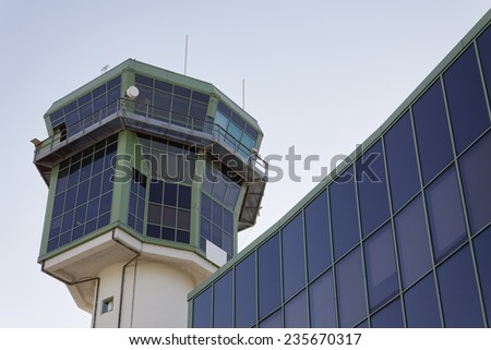 Italy, Naples International Airport, flight control tower - stock photo