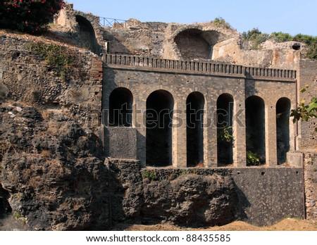 Italy Naples Pompeii - ruins of ancient Roman city destroyed by the eruption of the volcano Vesuvius - UNESCO World Heritage site - stock photo
