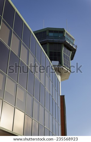 Italy, Napoli International Airport, flight control tower - stock photo