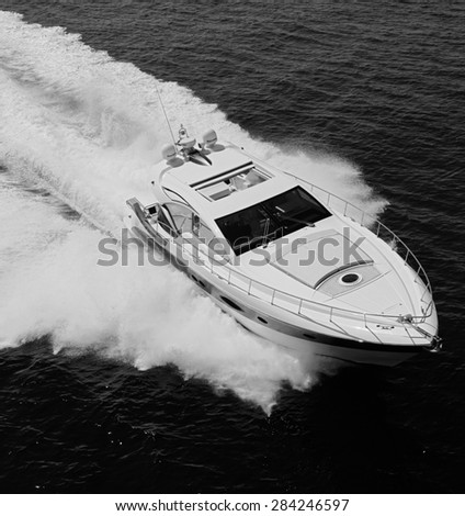 ITALY, Panarea Island, Tirrenian sea, aerial view of luxury yacht 55' - stock photo
