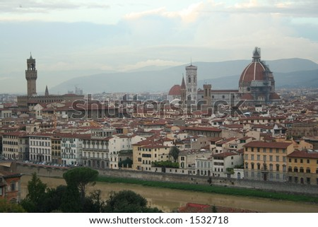 Italy, Panorama of Florence at sunset - stock photo