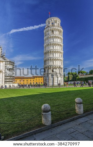 Italy, Pisa, Piazza del Duomo - shot at the monuments in piazza del duomo where there is the famous leaning tower of Pisa - stock photo