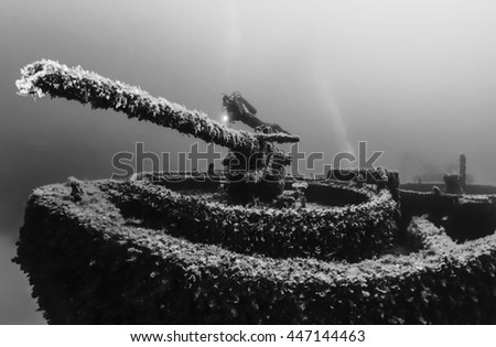 Italy, Ponza Island, Tyrrhenian sea, U.W. photo, wreck diving, sunken ship - FILM SCAN - stock photo
