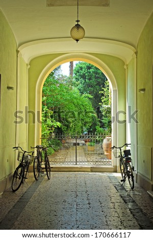 Italy Ravenna, medieval building courtyard  entrance - stock photo