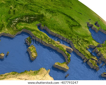 Italy region on detailed model of planet Earth with continents lifted above blue ocean waters. 3D Illustration. Elements of this image furnished by NASA. - stock photo