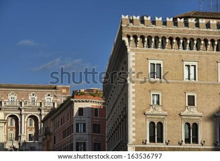 Italy, Rome, old buildings near Piazza Venezia - stock photo