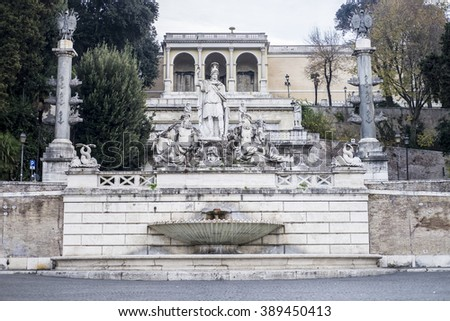 Italy, Rome, Piazza del Popolo, 13/12/2015, It is a morning of December to the Piazza del Popolo and there is still a few people around on the streets - stock photo