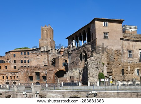 Italy. Rome. Ruins of a forum of Trajan - stock photo