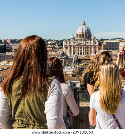 italy, rome, st. peter's basilica. seen from the castel sant'angelo from - stock photo
