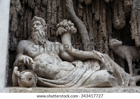 """Italy. Rome. """"Tiber River"""" is one of the 4 fountains sculpture of group """"four fountains"""" - stock photo"""