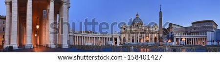 Italy Rome Vatican pope residence st Peters cathedral, square and catholic landmark at sunrise panoramic view  - stock photo