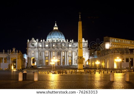 Italy. Rome. Vatican. Saint Peter's Square at night - stock photo