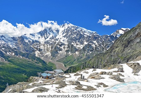 Italy's highest peak, The Monte Rosa, viewed from the Monte Moro Pass in the summer with ice lake in the foreground - stock photo